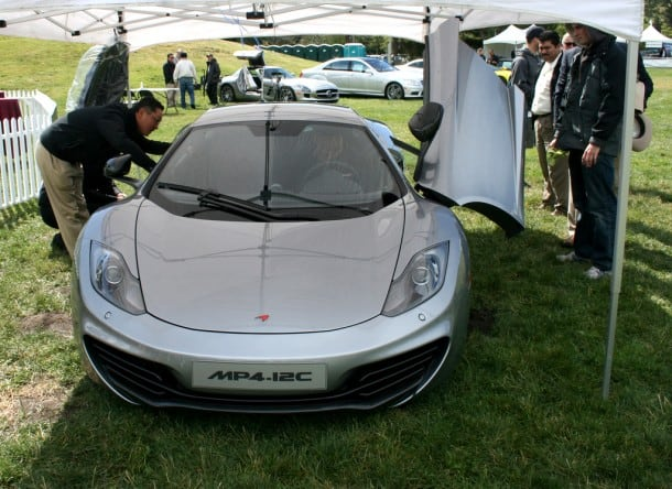 The eagerly awaited 2012 McLaren MP4-12C English sports car, touted by the industry as a competitor to the high-performance category ruled by Ferrari and Lamborghini, was unveiled at the Marin Sonoma Concours d'Elegance.