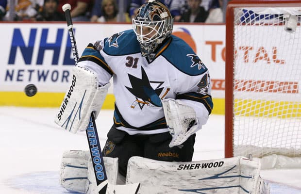 A familiar sight - It was Niemi against the a blue and green storm in Game 2.