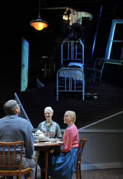 Gregor (top, Alexander Crowther) remains alone in his room, uninvited to dinner with Father, Mother, and Grete (seated l-r, Allen McKelvey,* Madeline H.D. Brown, Megan Trout), in Metamorphosis