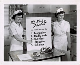 Who doesn't like attractive dairy? A cooking demonstration from 1950.