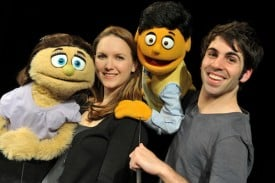 Halsey Varady as Kate Monster and David Colston Corris as Princeton in San Jose Stage Company's production of Avenue Q. Photo by Dave Lepori.