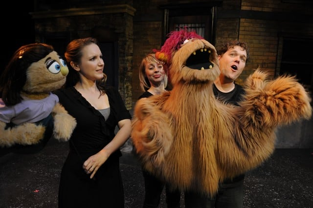 Halsey Varady as Kate Monster and Monique Hafen and Robert Brewer as Trekkie Monster in Avenue Q at San Jose Stage Company.