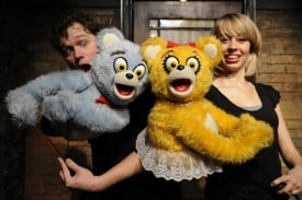 Robert Brewer and Monique Hafen as The Bad Idea Bears in Avenue Q at San Jose Stage Company.