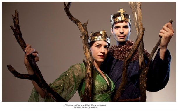 "Marin Shakespeare Company presents ""Macbeth,"" featuring Alexandra Matthew and William Elsman, with performances presented outdoors at Forest Meadows Amphitheatre in San Rafael."