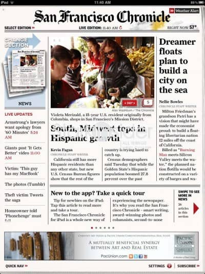 San Francisco Chronicle iPad App - Review