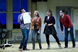 Hunter (Jamison Stern) Susan (Laura Jordan), Heidi (Farah Alvin), and Jeff (Ian Leonard) prepare their submission to the New York Musical Theatre Festival in the regional premiere of [title of show] at TheatreWorks.