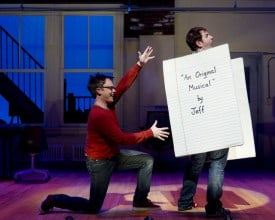 Jeff (Ian Leonard) envisions his masterpiece on a Blank Page (Jamison Stern) in the regional premiere of [title of show] at TheatreWorks.