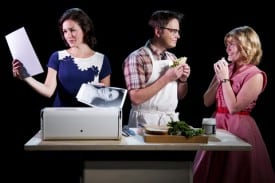 "Rachel Spencer Hewitt as ""Daphne"" the hopeful actress, Ian Leonard as ""Harold"" the hapless sandwich maker, and Kristin Stokes as ""Miriam,"" Daphne's star-gazing sister, in the world premiere of FLY BY NIGHT at TheatreWorks.  Photo credit: Mark Kitaoka"