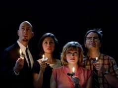 "Wade McCollum as ""Narrator,"" Rachel Spencer Hewitt as ""Daphne"" the hopeful actress, Kristin Stokes as ""Miriam,"" Daphne's star-gazing sister, and Ian Leonard as ""Harold"" the hapless sandwich maker prove it sometimes takes a blackout to see the light in the world premiere of 'Fly by Night' opening this weekend at TheatreWorks. Photo credit: Tracy Martin."