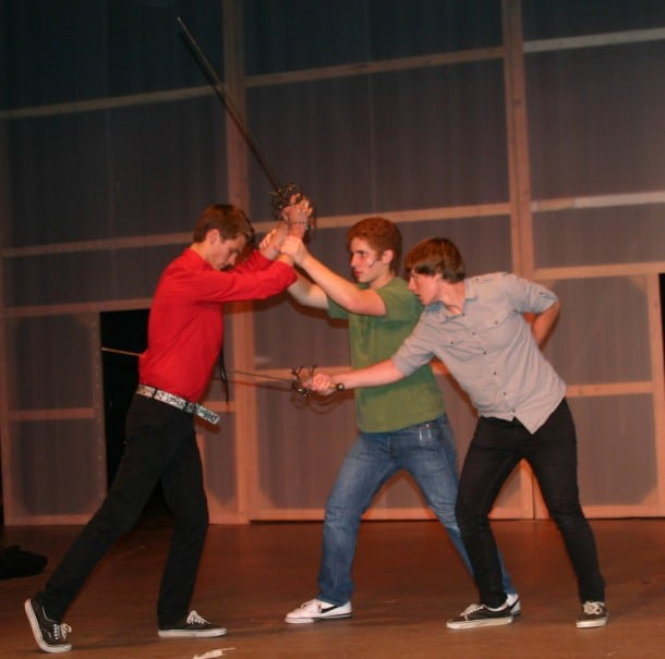 Mercutio (Taylor Barnes), Romeo (John Kellett), and Tybalt (Matt Cummings)