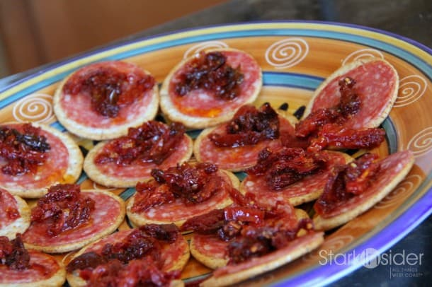 """Sunshine in a Bite"" Sundried Tomatoes and Salami Crackers"