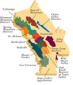 The appellations of Napa