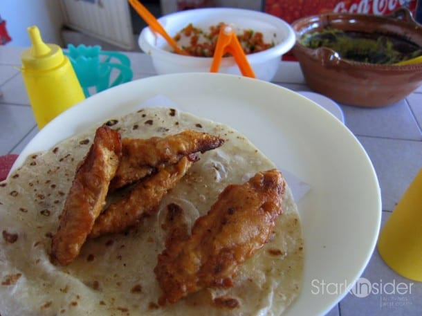 Fish tacos at El Rey Del Taco are some of the best in Loreto. The fish comes served on fresh flour or corn tortilla. Condiments are made as you watch and served in big family-style bowls that invite you to build your own tacos.