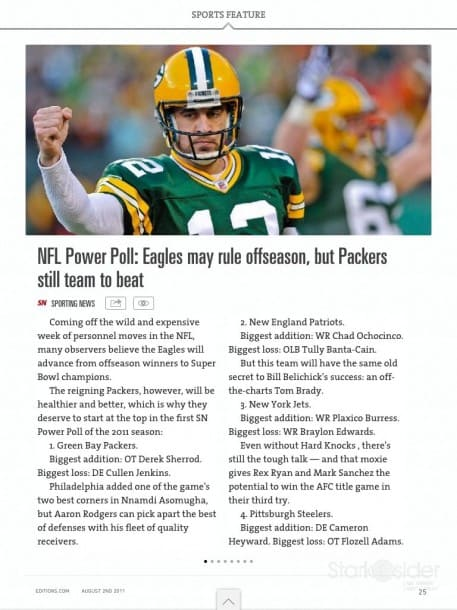 Articles from AOL-owned media sources, such as this one about the Packers from Sporting News, are embedded, while others (BusinessWeek, MSNBC, Bloomberg, etc.) point to web pages.