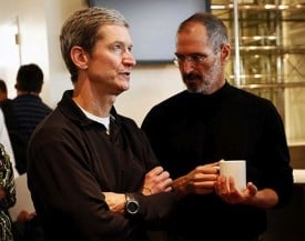 New Apple CEO Tim Cook with Steve Jobs.