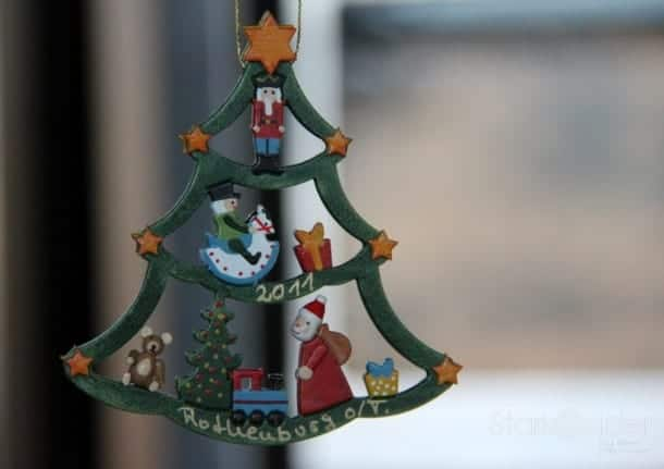 One of the charming, handmade Christmas ornaments I purchased while at Käthe Wohlfahrt in Rothenburg, Germany.