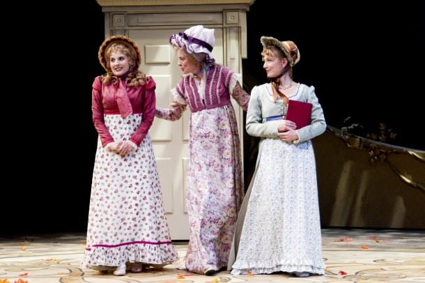 Marianne (Katie Fabel) enters Barton Cottage with her Aunt Jennings (Stacy Ross) and her sister Elinor (Jennifer Le Blanc).