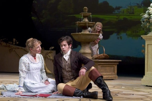 Elinor (Jennifer Le Blanc) and Edward (Thomas Gorrebeeck) get to know each other while Marianne (Katie Fabel) looks on  in the American Premiere of SENSE AND SENSIBILITY at TheatreWorks.  Photo credit: Tracy Martin.