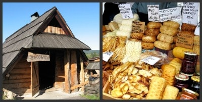 Traditional bacowka and a variety of oscypek