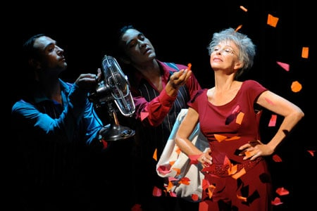 Legendary actress Rita Moreno performs with Salvatore Vassallo (left) and Ray Garcia during dress rehearsal for the world premiere of Rita Moreno: Life Without Makeup at Berkeley Rep.