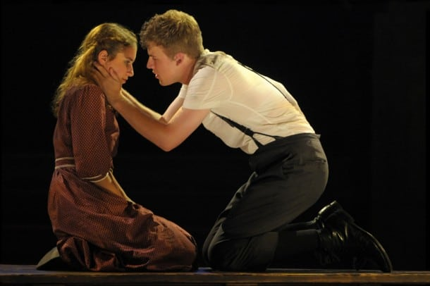 Wendla (Eryn Murman) and Melchior (Jason Hite) try to fight their urges in San Jose Rep's production of Spring Awakening.