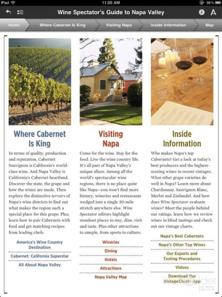 Wine Spectator App for iPad