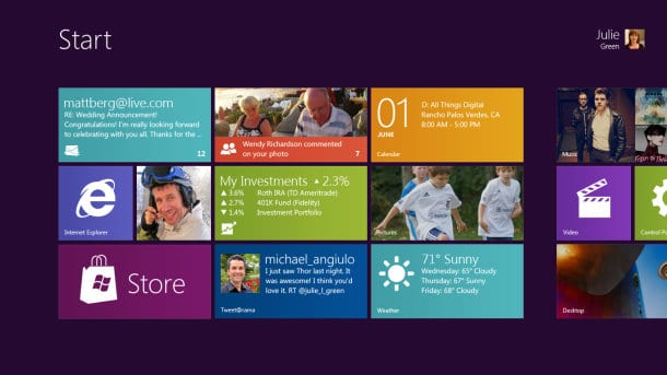 Windows8 start-up screen