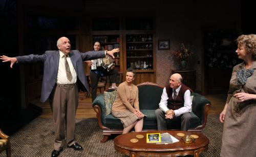 Tobias* (l, Ken Grantham*) tries to put his house back in order as Agnes (r, Kimberly King*), houseguests Edna and Harry (seated Anne Darragh*, Charles Dean*), and Claire (back, Jamie Jones*) watch.