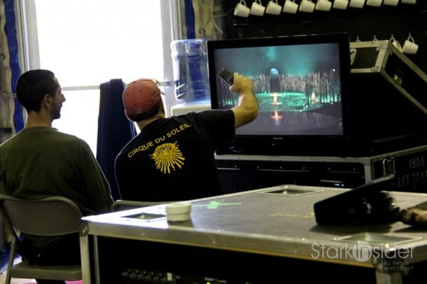 Reviewing show footage.