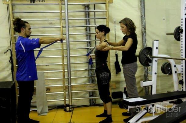 Training at the Cirque gym.