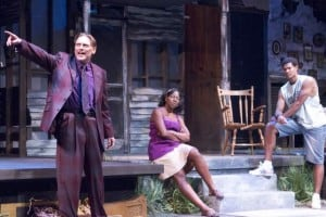 "Jack Koenig as ""Jaffy,"" Laiona Michelle as his wife ""Clementine,"" and their son Matt Jones as ""Reginald."""