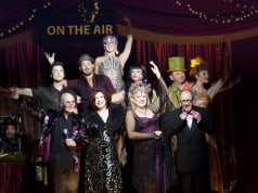 Entire Cast of On The Air Bottom row, left to right: Mat Plendl, Duffy Bishop, Kristin Clayton, Geoff Hoyle. Middle row, left to right: Christopher Phi, Bernard Hazens, Manuela Horn, Wayne Doba, Andrea Conway-Doba Top: Elena Gatilova
