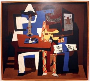 Picasso's Three Musicians (1921), one of my favorites, now hangs in the Museum of Modern Art.