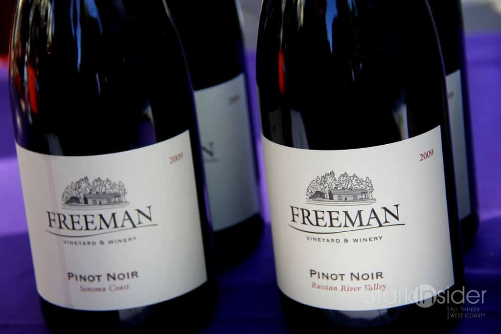 2009 Freeman Vineyard Sonoma Coast Pinot - Recommended. Earthy with vanilla, some oak. Balanced. Might be hard to find. Grapes sourced from the Guidici Vineyard which yields less than 1 tonne per acre.