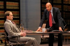 Law firm partners Jack Lawson (A.C.T. core acting company member Anthony Fusco, left) and Henry Brown (Chris Butler) discuss whether they should take on this controversial case. Photo by Kevin Berne.