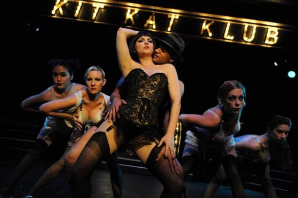 "CLARISSA CHUN, CHELLANA DINSMORE, CARMICHAEL ""CJ"" BLANKENSHIP*, HALSEY VARADY*, ALLISON F. RICH, JEF VALENTINE, and CHRISTINE CAPSUTO in San Jose Stage Company's production of CABARET."