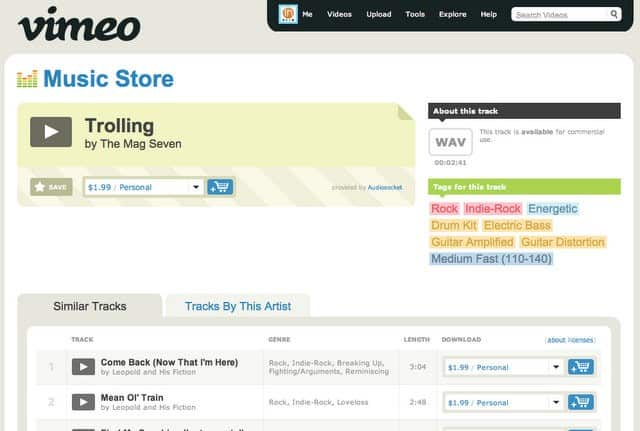 Vimeo Music Store launched