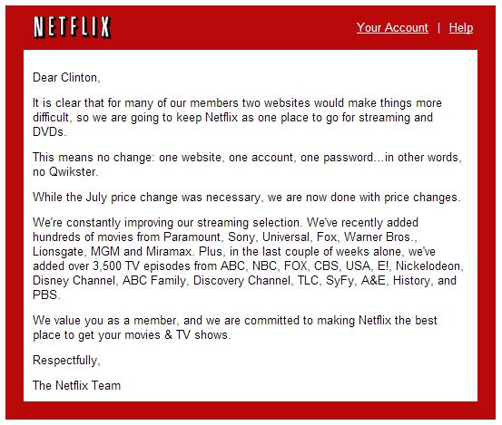 Netflix gives up - reverses course