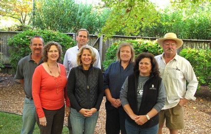 Calistoga Winegrowers board of directors Back row, left to right: Barr Smith of Barlow Vineyards, Mark Mathewson of Sterling Vineyards, Ace Yaksic of Joseph Cellars Ladies, left to right: Laura Zahtila Swanton of Zahtila Vineyards, Karen Cakebread of Ziata Wines, Carolyn