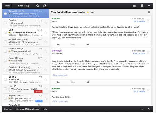 Gmail App on iPad 2