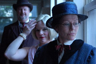 Above: L-R – Dave Garrett, Sally Clawson, and Janis Stevens in Becoming Julia Morgan.