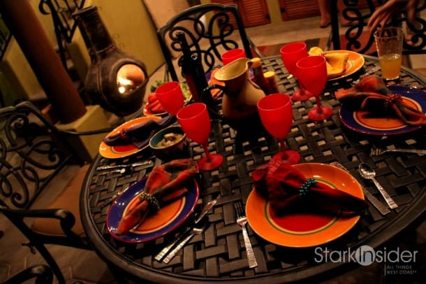 A traditional table setting on the terrace of a Loreto Bay home.