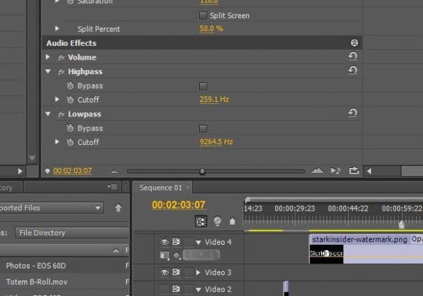 Adobe Premiere Pro - Highpass and Lowpass filters help clean up audio