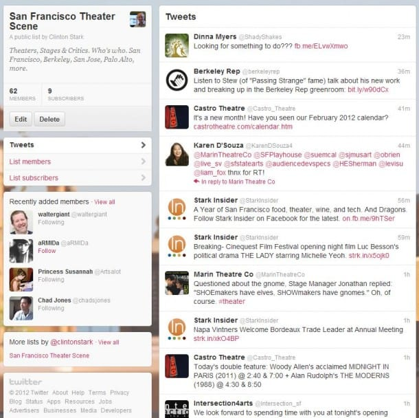Follow San Francisco critics, theaters, trade, actors on Twitter
