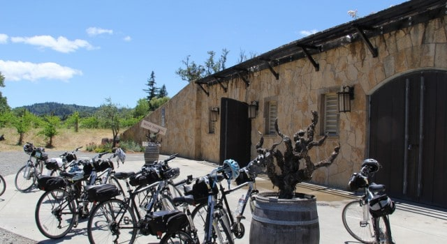 Biking is a great option in wine country, especially in Dry Creek Valley with its bike-friendly roads and tasting rooms such as this one at Martorana Family Winery.
