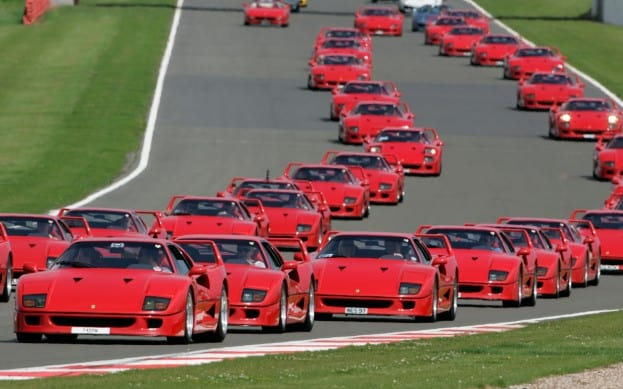 red sea 60 ferrari f40s spotted at race track video stark insider. Black Bedroom Furniture Sets. Home Design Ideas