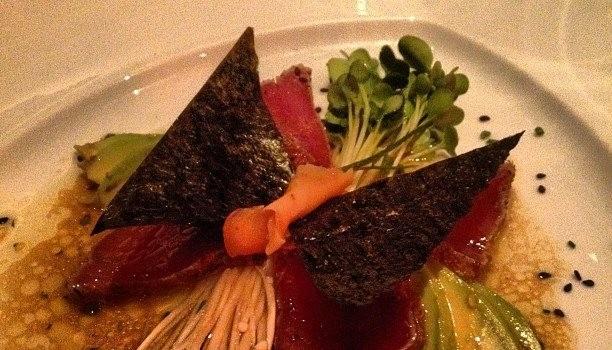 Ahi Tuna, whimsically plated as a butterfly.
