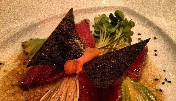 Ahi Tuna, whimsically plated as a butterfly.