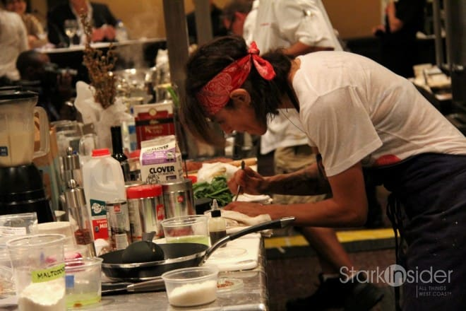 Chef Dominique Crenn (Atelier Crenn) competing at an event in San Francisco.