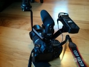 Triple Mount Hot Shoe: the more gadgets the better! (Canon EOS 60D with light panel, Rode Videomic Pro, and Zoom H1 recorder)